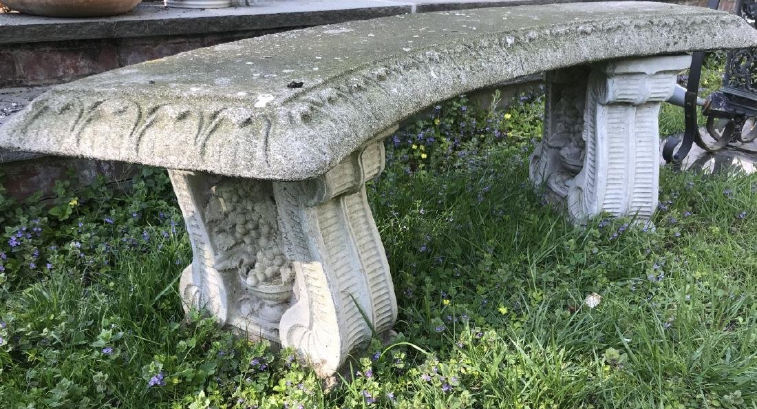 Garden / Outdoor Cast Stone Bench w Grape Design