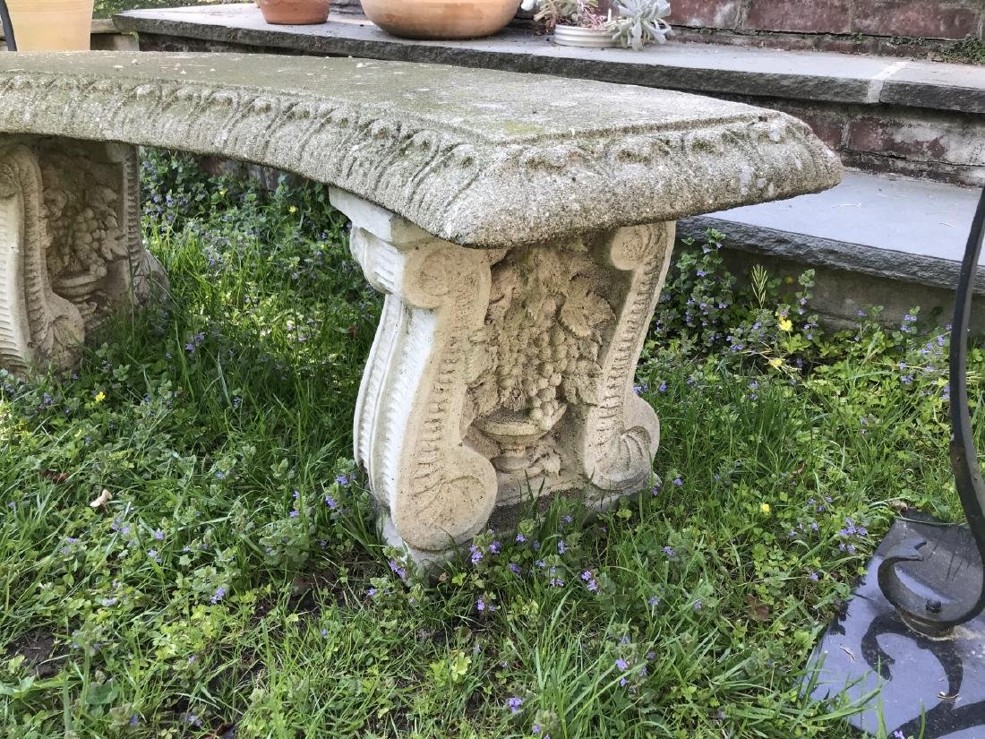 Garden / Outdoor Cast Stone Bench w Grape Design - 2