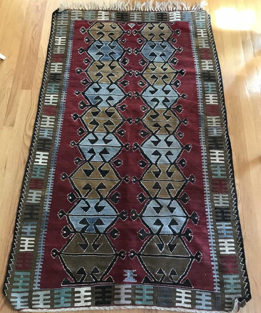 Hand Knotted Kilim Style Throw Rug / Carpet