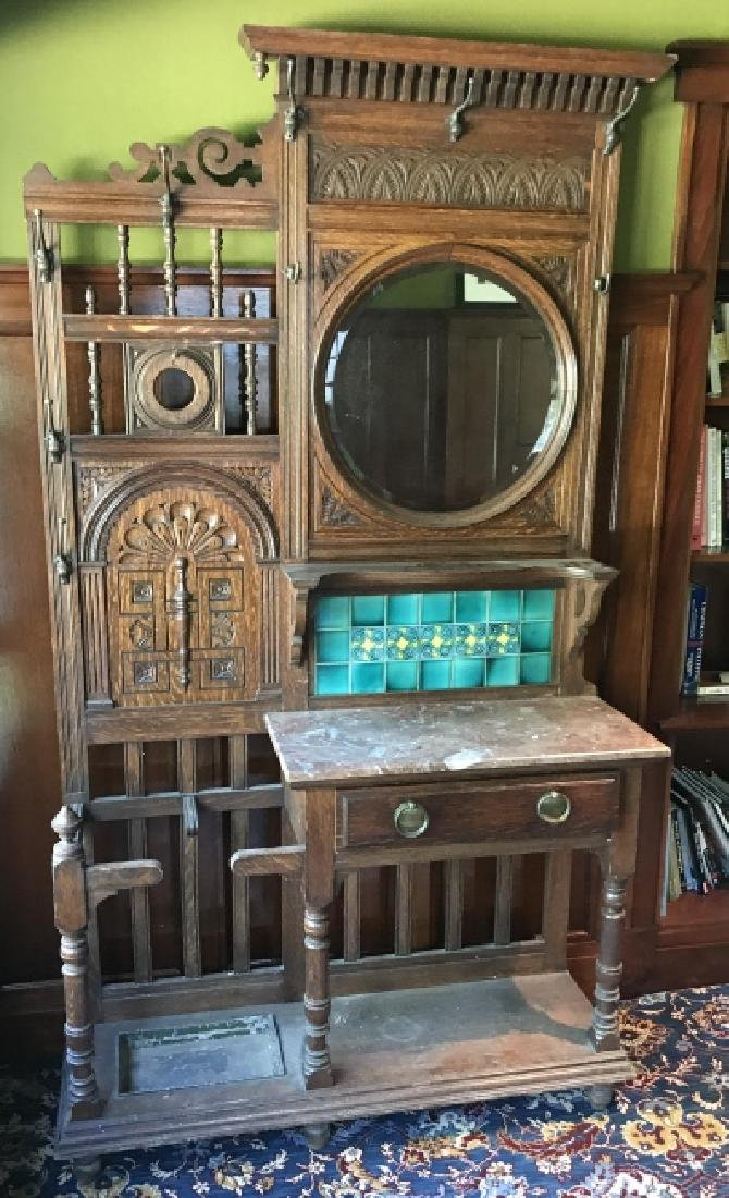 Antique 19th C Victorian Hall Stand w Console