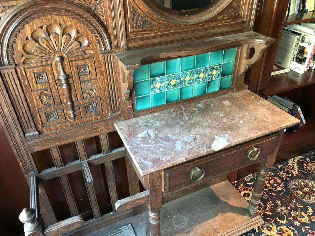 Antique 19th C Victorian Hall Stand w Console - 5