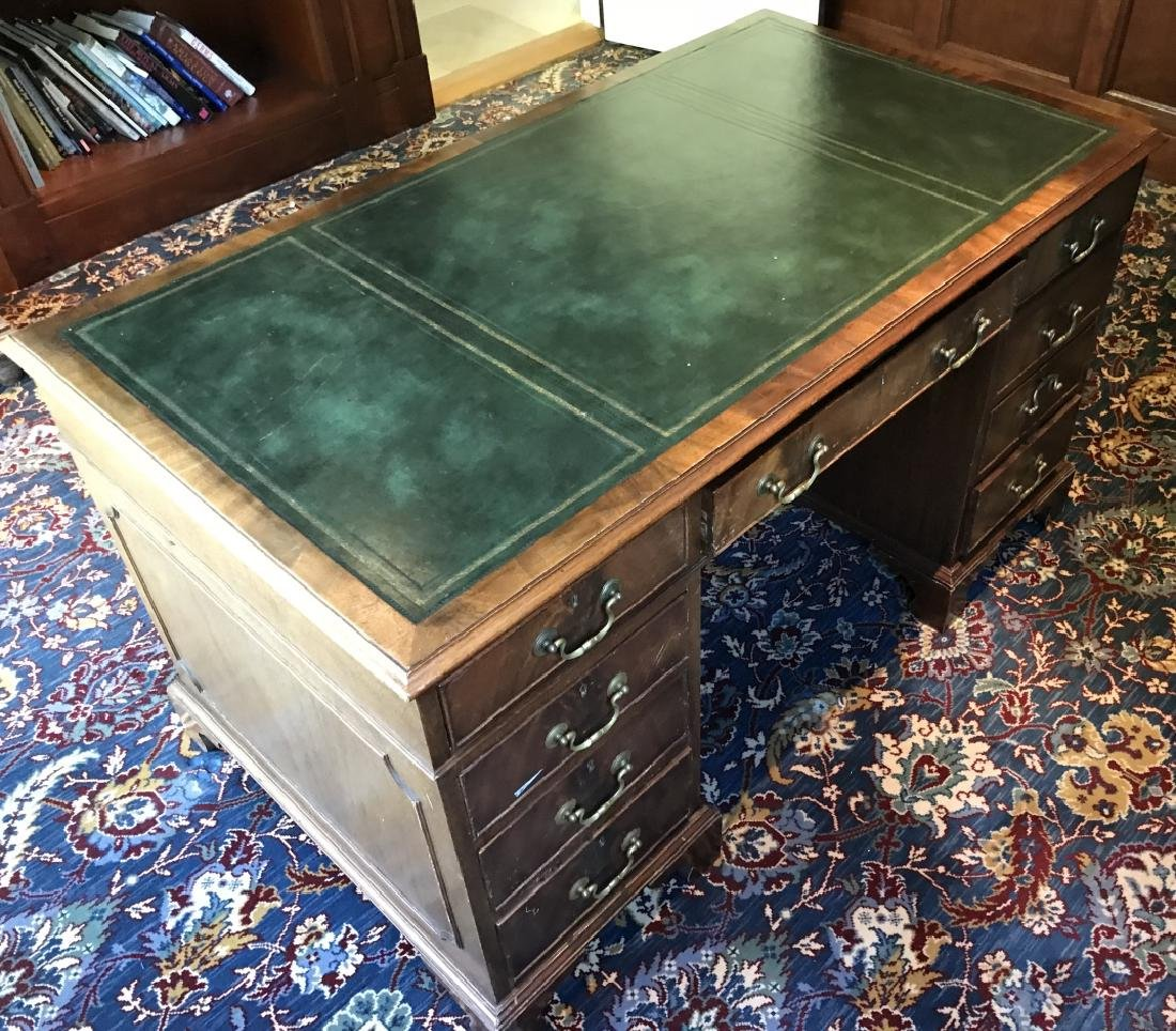English Style Double Pedestal Leather Top Desk
