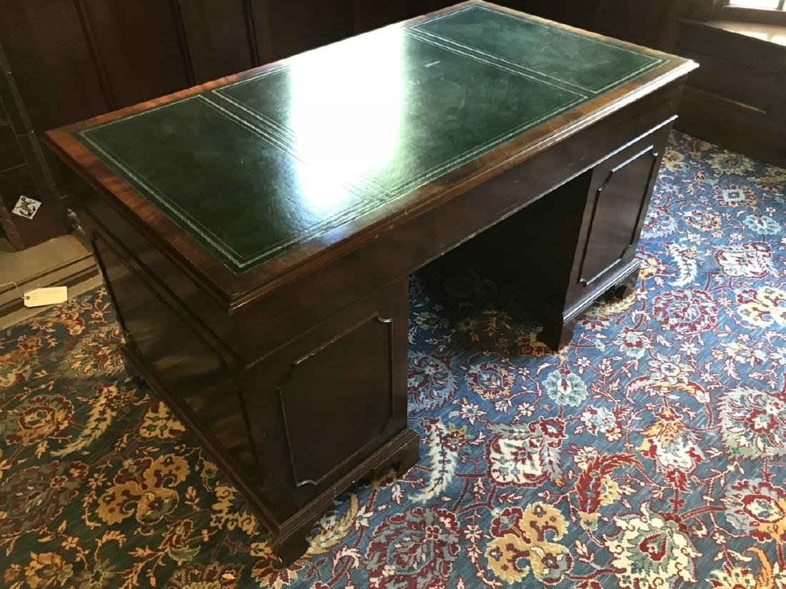 English Style Double Pedestal Leather Top Desk - 2