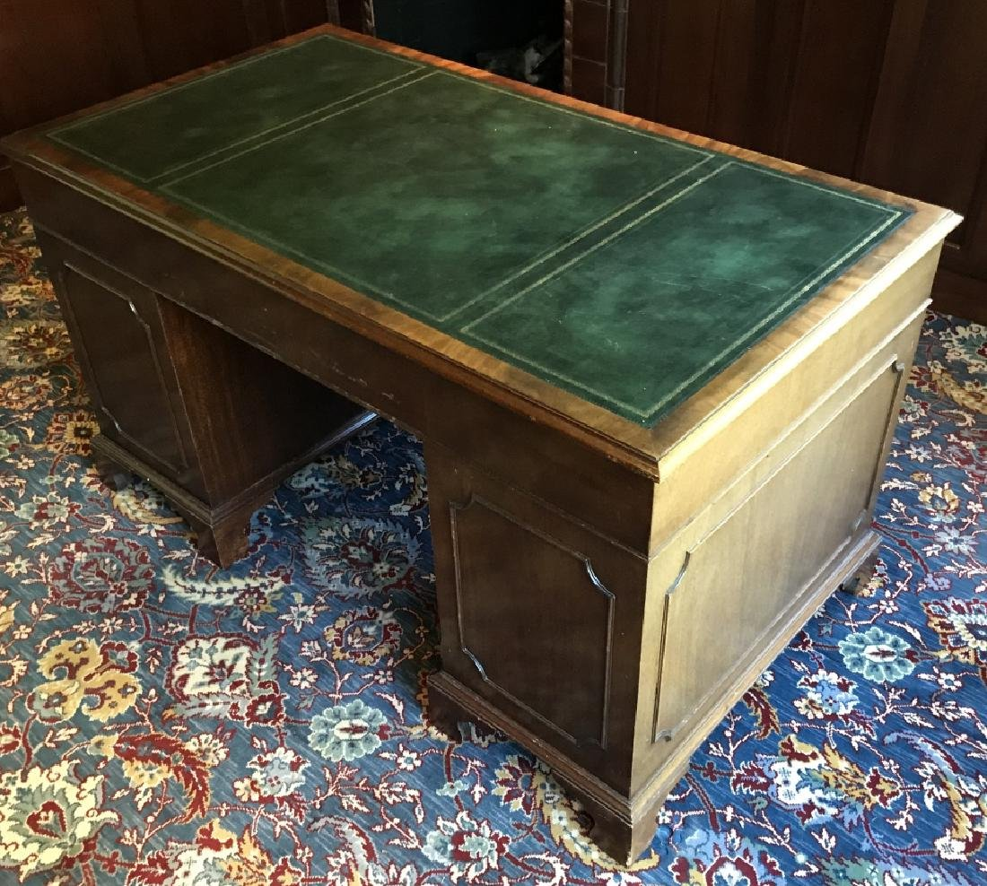 English Style Double Pedestal Leather Top Desk - 3