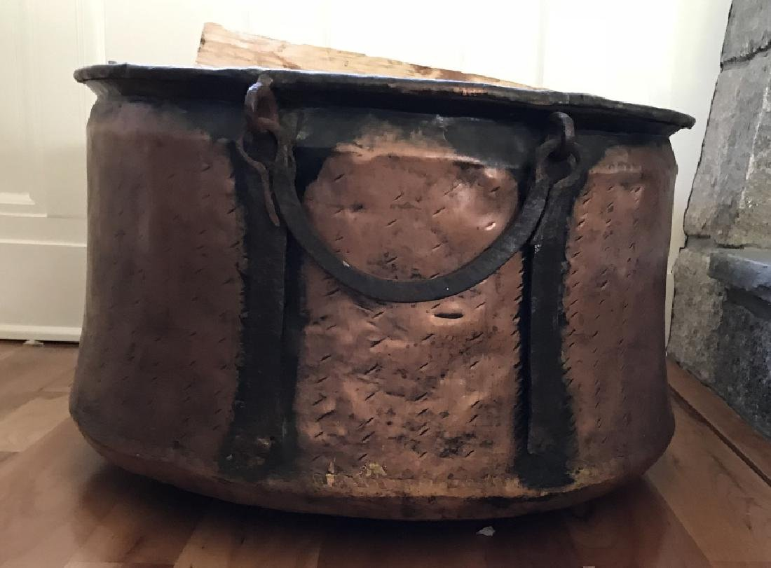Large Copper & Iron Fireplace Wood Bucket