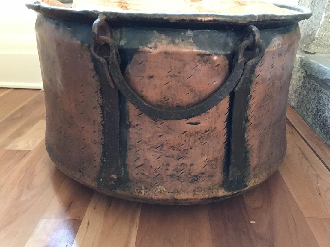 Large Copper & Iron Fireplace Wood Bucket - 2