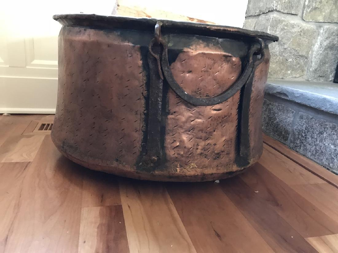 Large Copper & Iron Fireplace Wood Bucket - 3