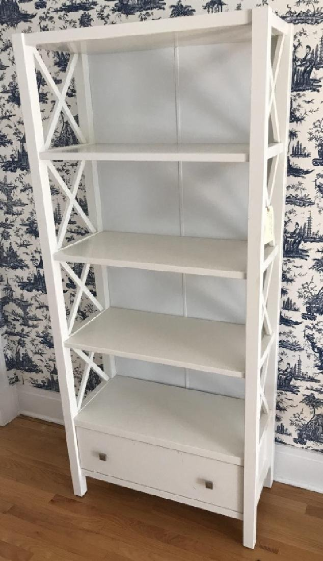 Contemporary Modern White Bookcase Etagere