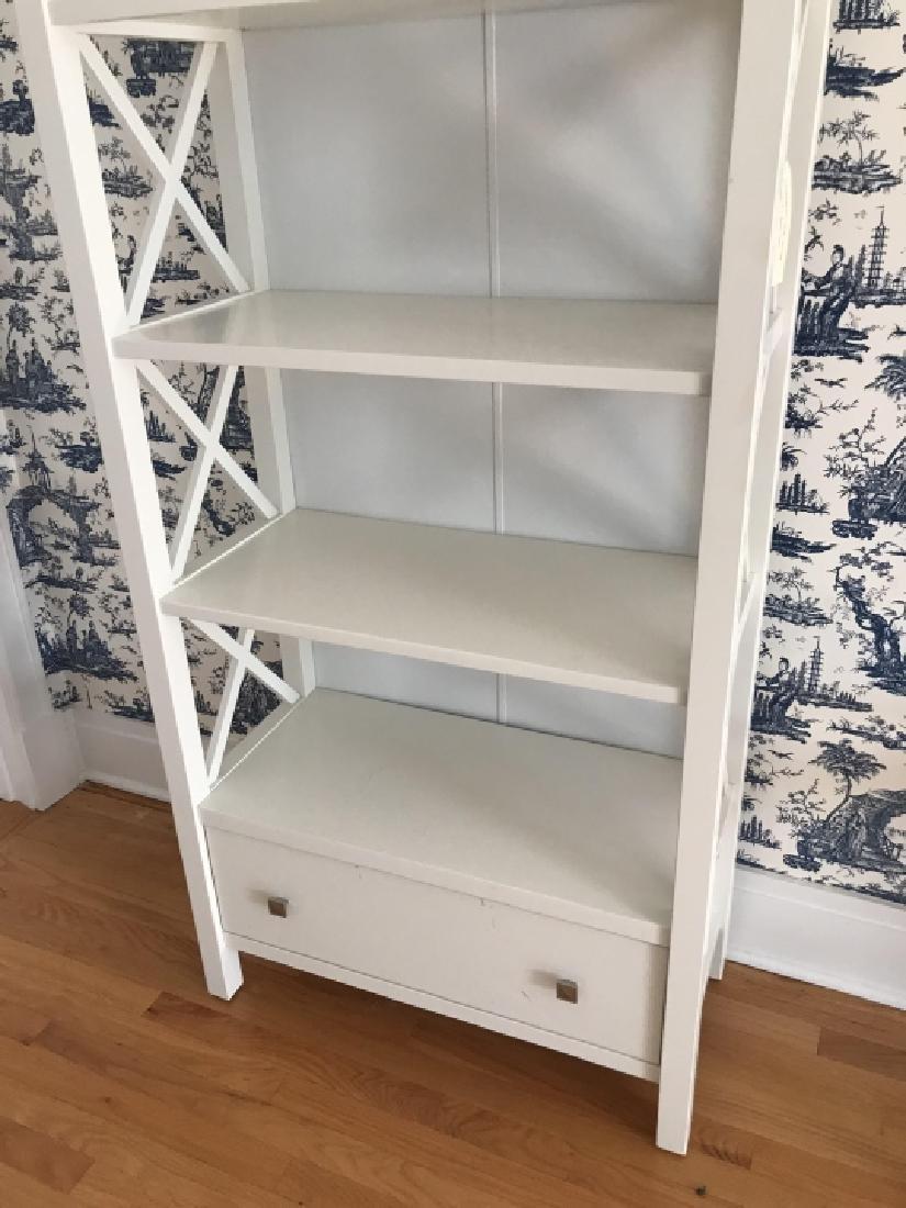 Contemporary Modern White Bookcase Etagere - 2