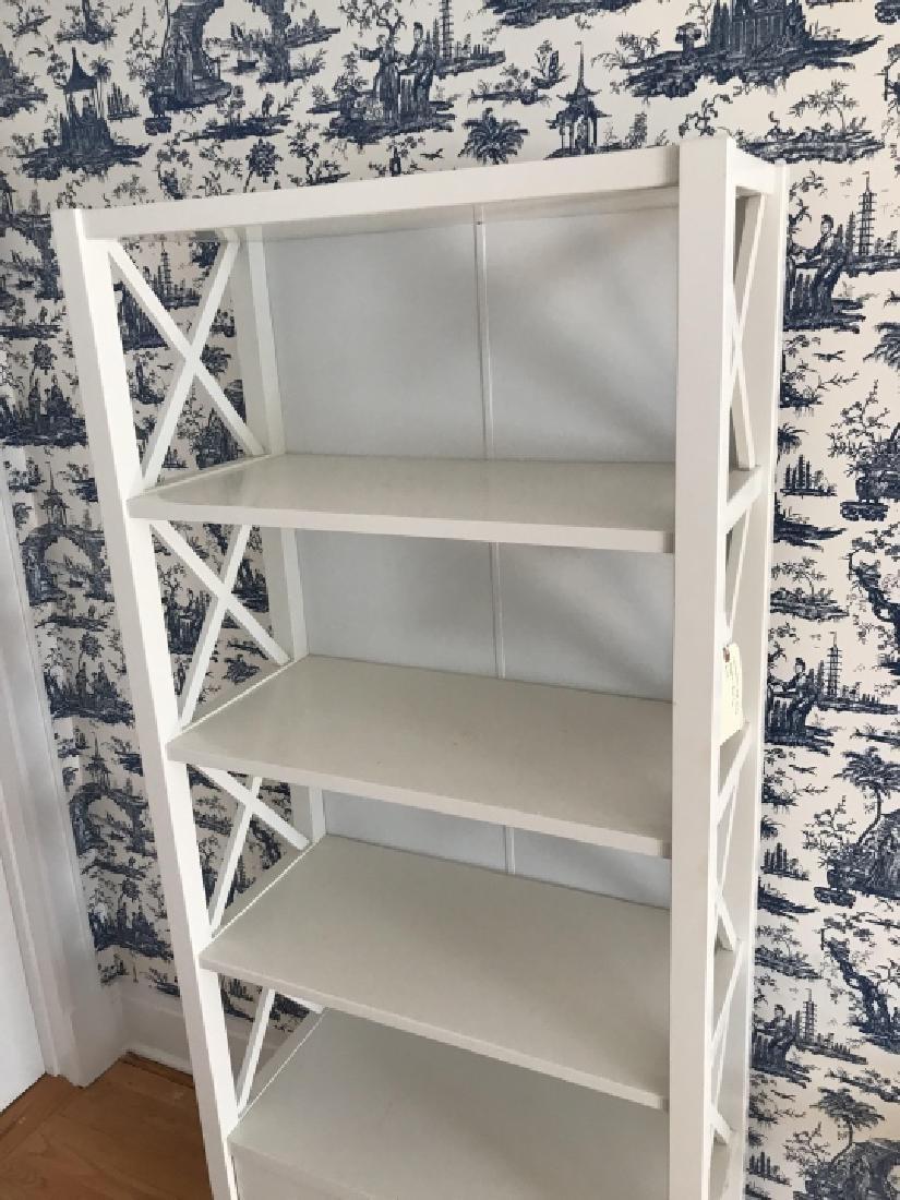 Contemporary Modern White Bookcase Etagere - 3