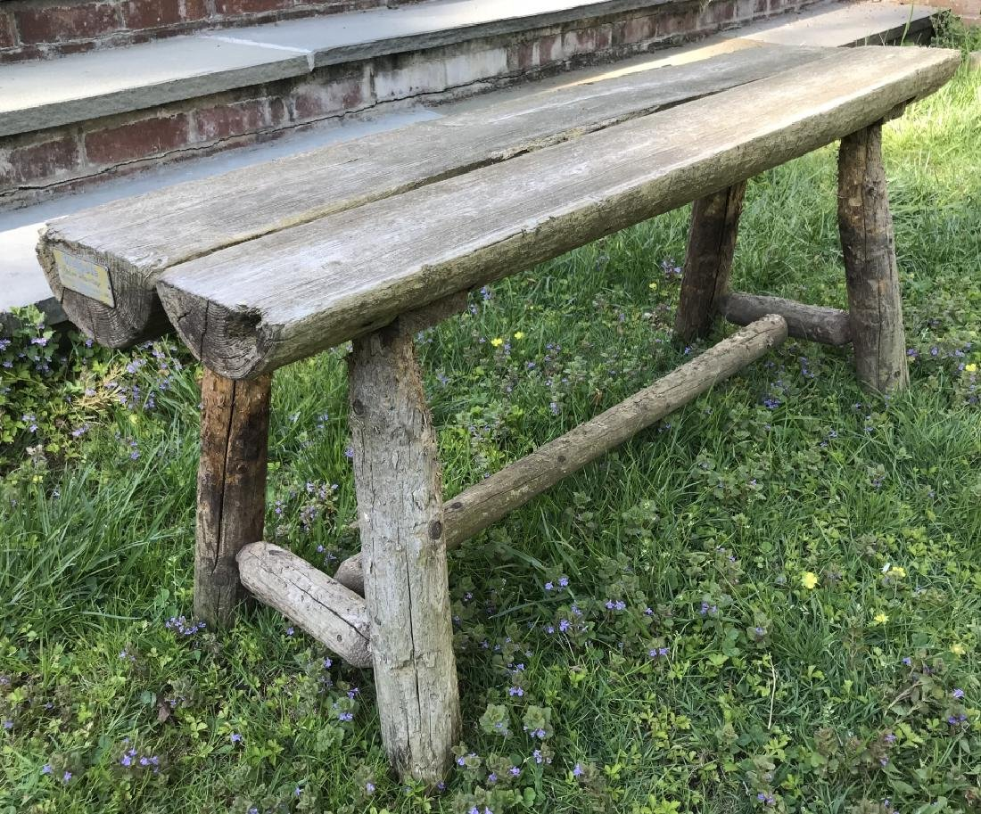 Carved Wood Garden / Outdoor Bench by Walpole