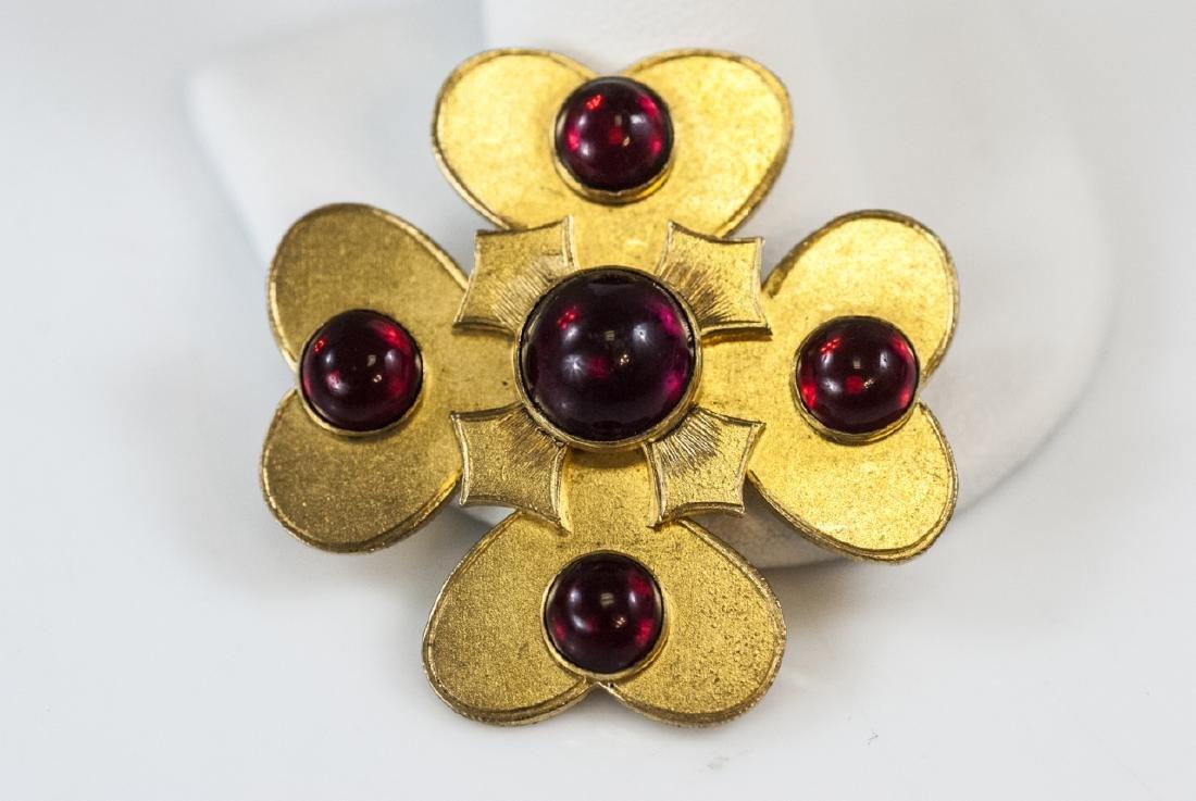 Antique 19th C Gilt Metal Garnet Paste Brooch Pin