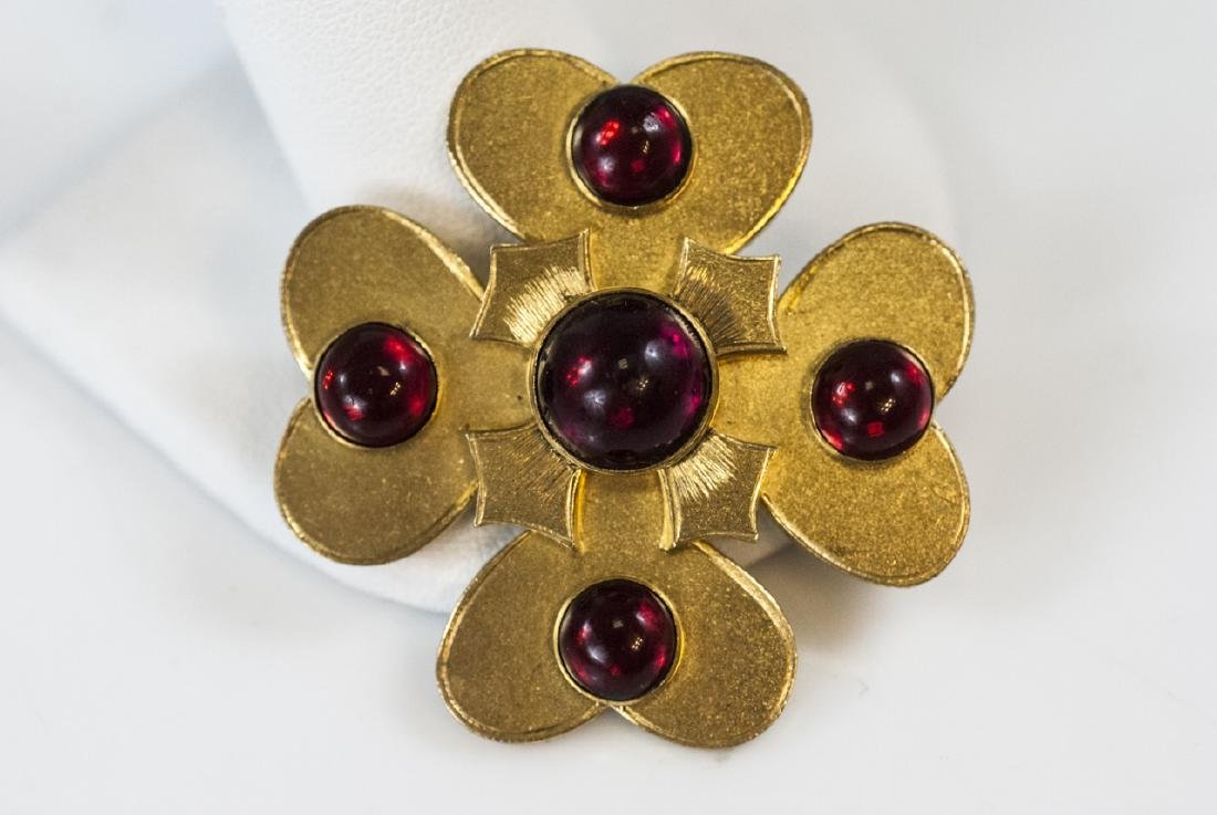 Antique 19th C Gilt Metal Garnet Paste Brooch Pin - 3