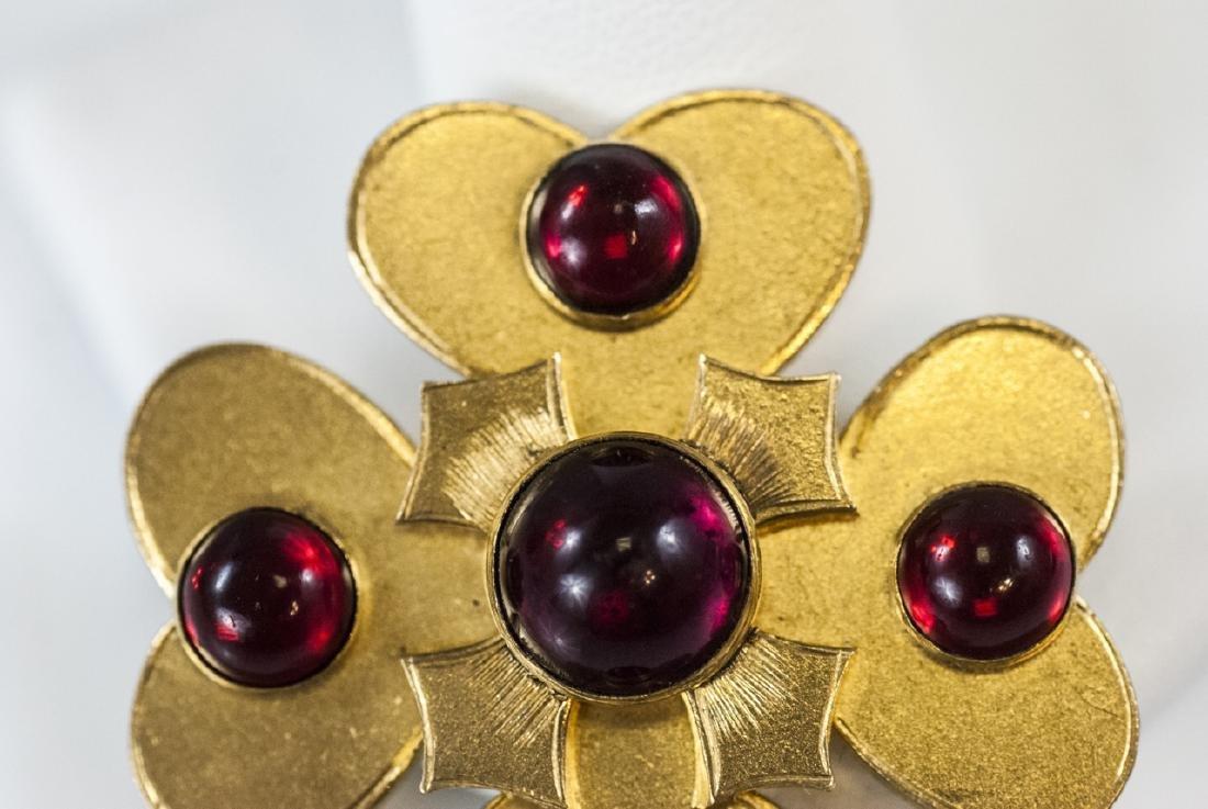 Antique 19th C Gilt Metal Garnet Paste Brooch Pin - 4