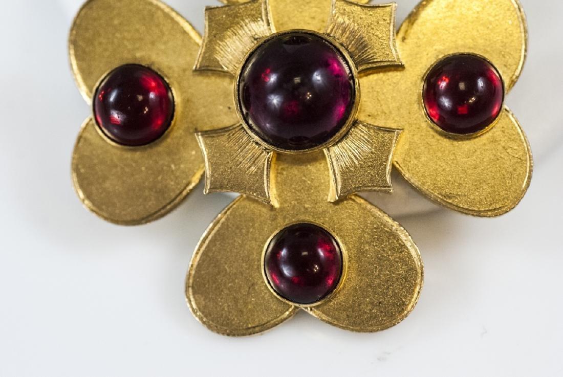 Antique 19th C Gilt Metal Garnet Paste Brooch Pin - 5