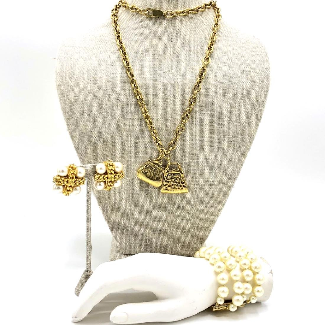 Vintage 80s Costume Chanel Style Jewelry Set - 2