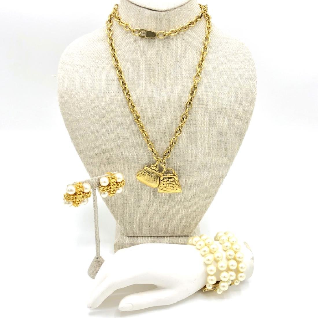 Vintage 80s Costume Chanel Style Jewelry Set - 3