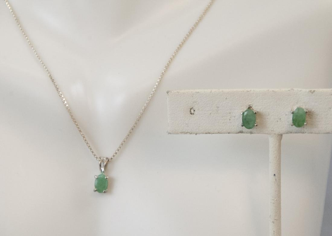 Emerald & Sterling Silver Necklace & Pair Earrings
