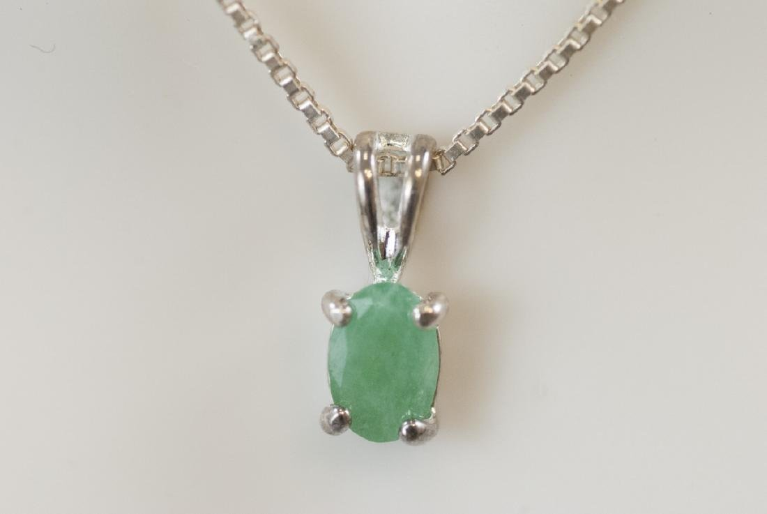 Emerald & Sterling Silver Necklace & Pair Earrings - 2