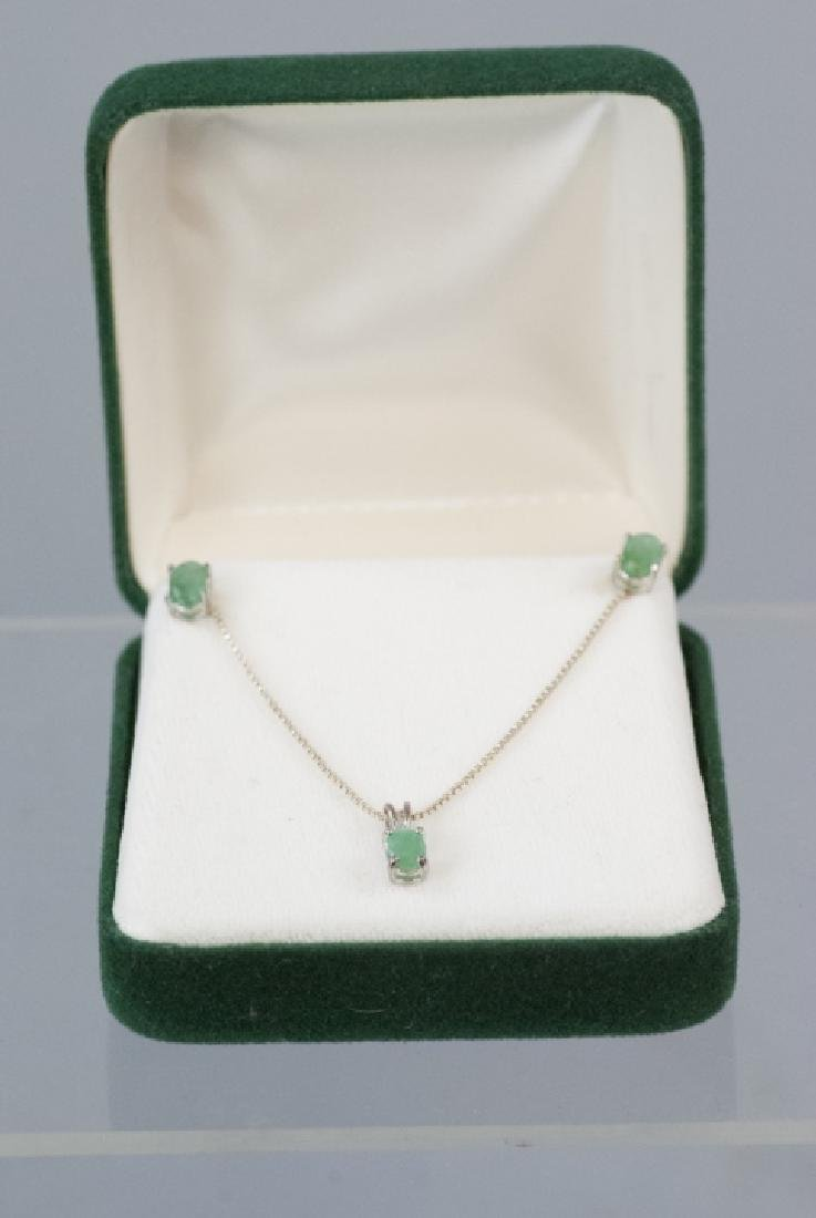 Emerald & Sterling Silver Necklace & Pair Earrings - 4