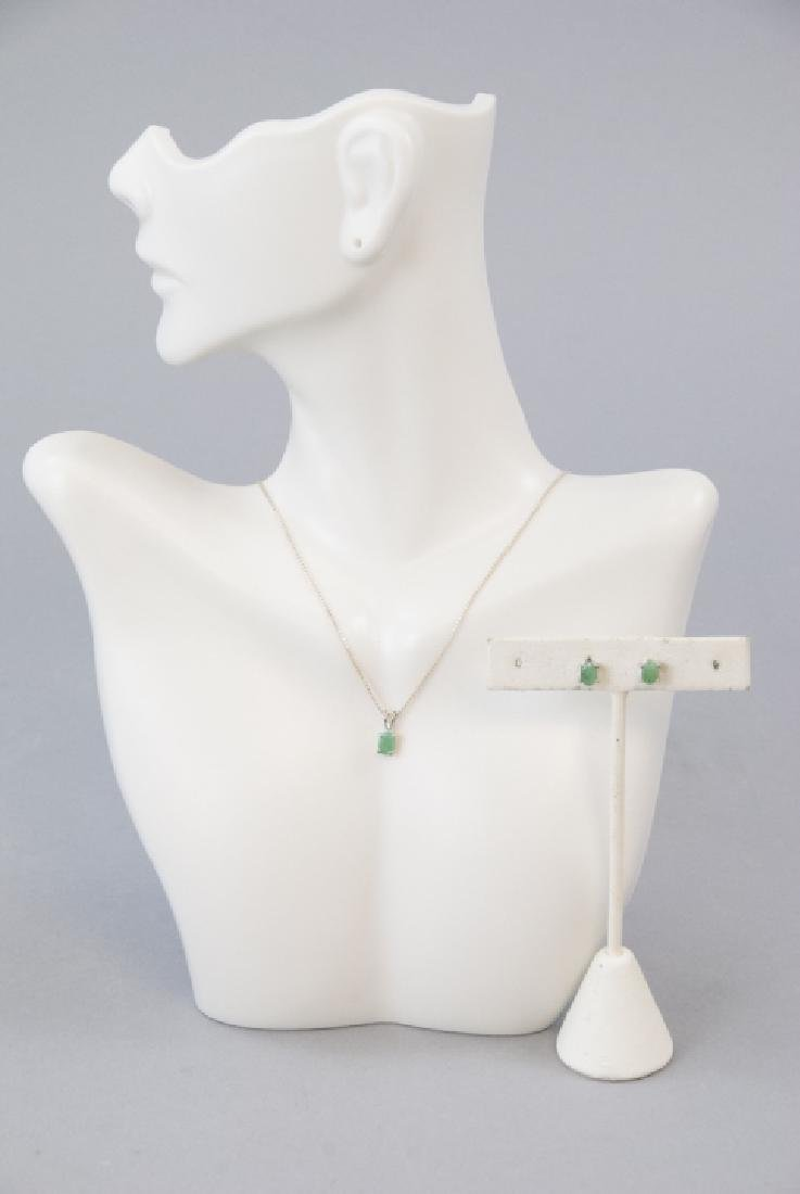 Emerald & Sterling Silver Necklace & Pair Earrings - 5