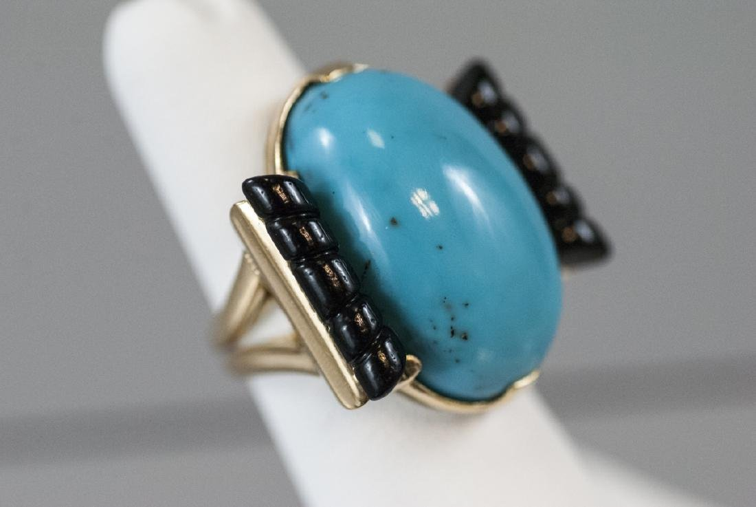 Art Deco Style 14kt Gold Onyx & Turquoise Ring