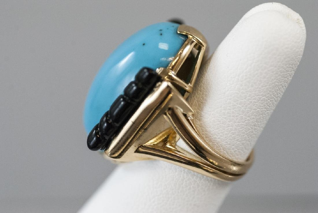 Art Deco Style 14kt Gold Onyx & Turquoise Ring - 3
