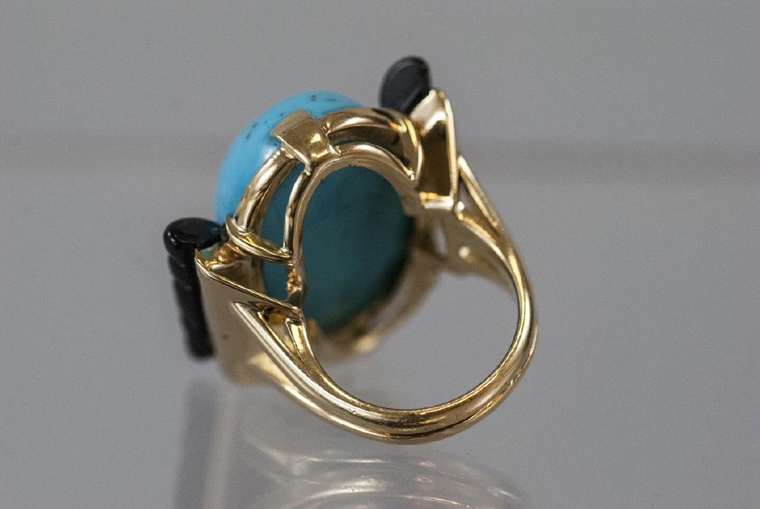 Art Deco Style 14kt Gold Onyx & Turquoise Ring - 4