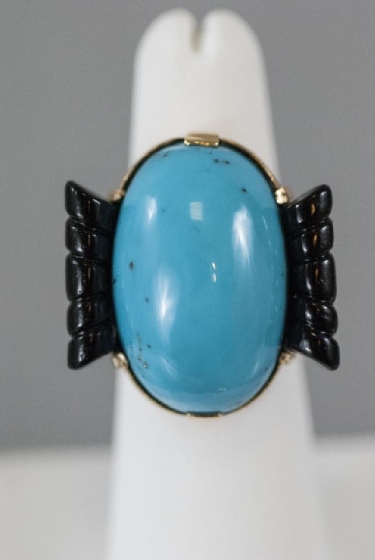 Art Deco Style 14kt Gold Onyx & Turquoise Ring - 6