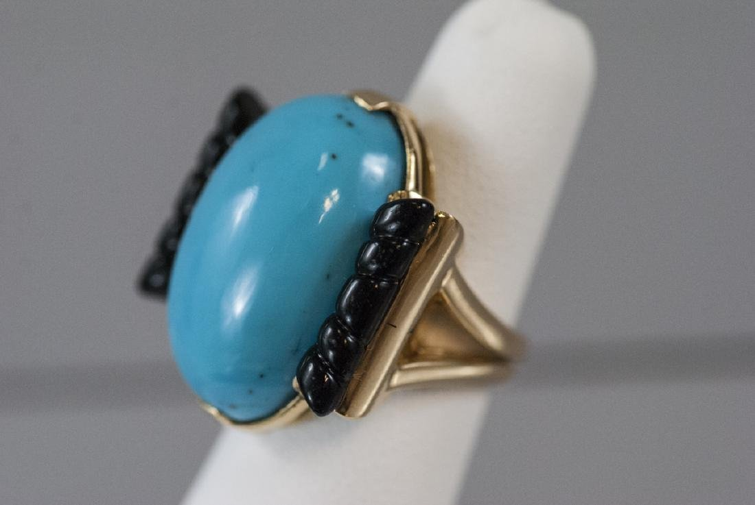 Art Deco Style 14kt Gold Onyx & Turquoise Ring - 7