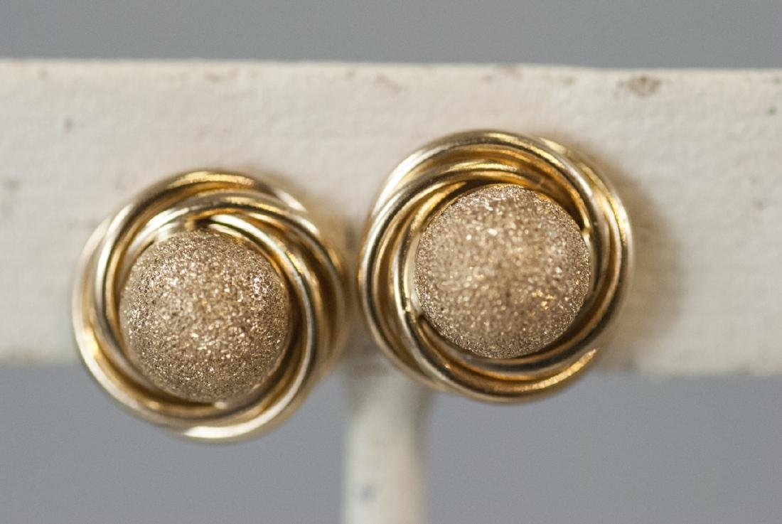 Pair of 14kt Yellow Gold Knot Motif Earring Studs