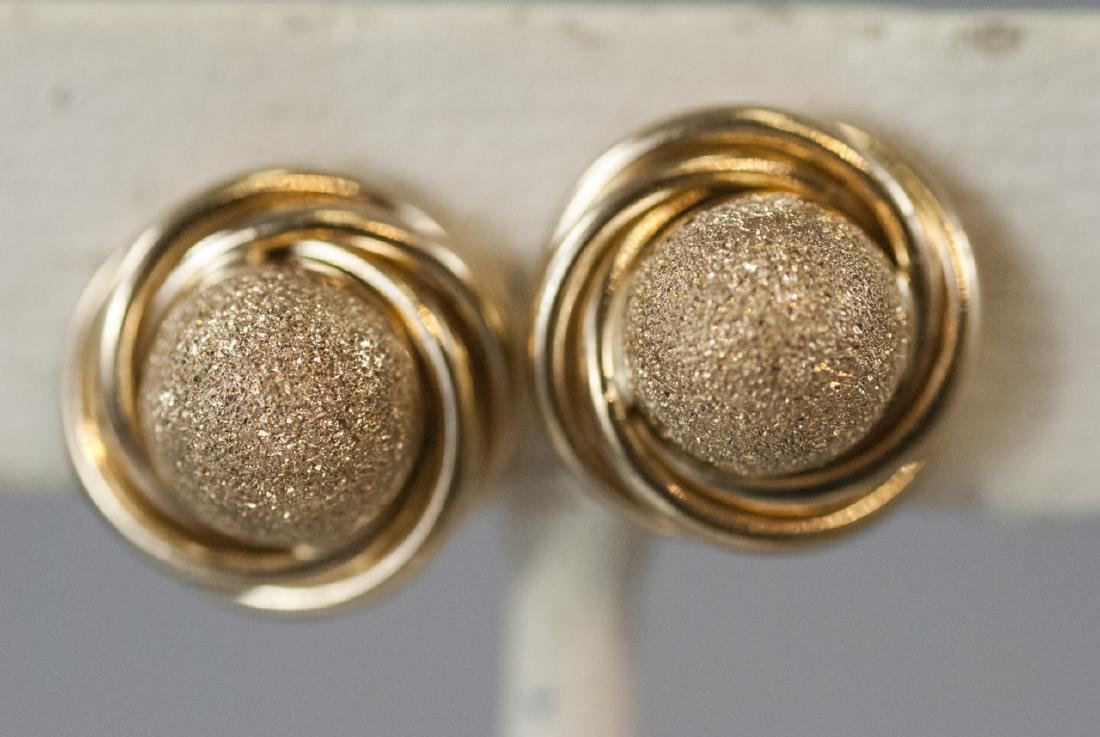 Pair of 14kt Yellow Gold Knot Motif Earring Studs - 2