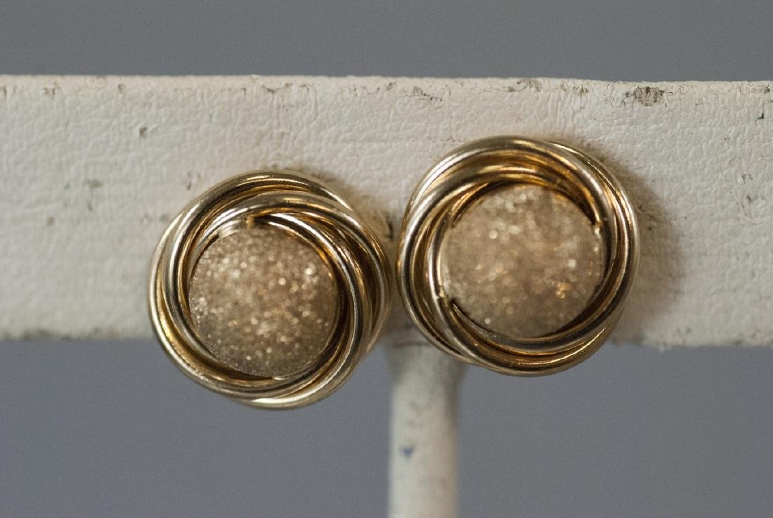 Pair of 14kt Yellow Gold Knot Motif Earring Studs - 5