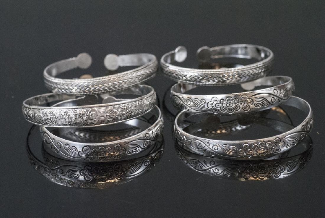 Group of Six Silver Tone Chinese Cuff Bracelets - 2