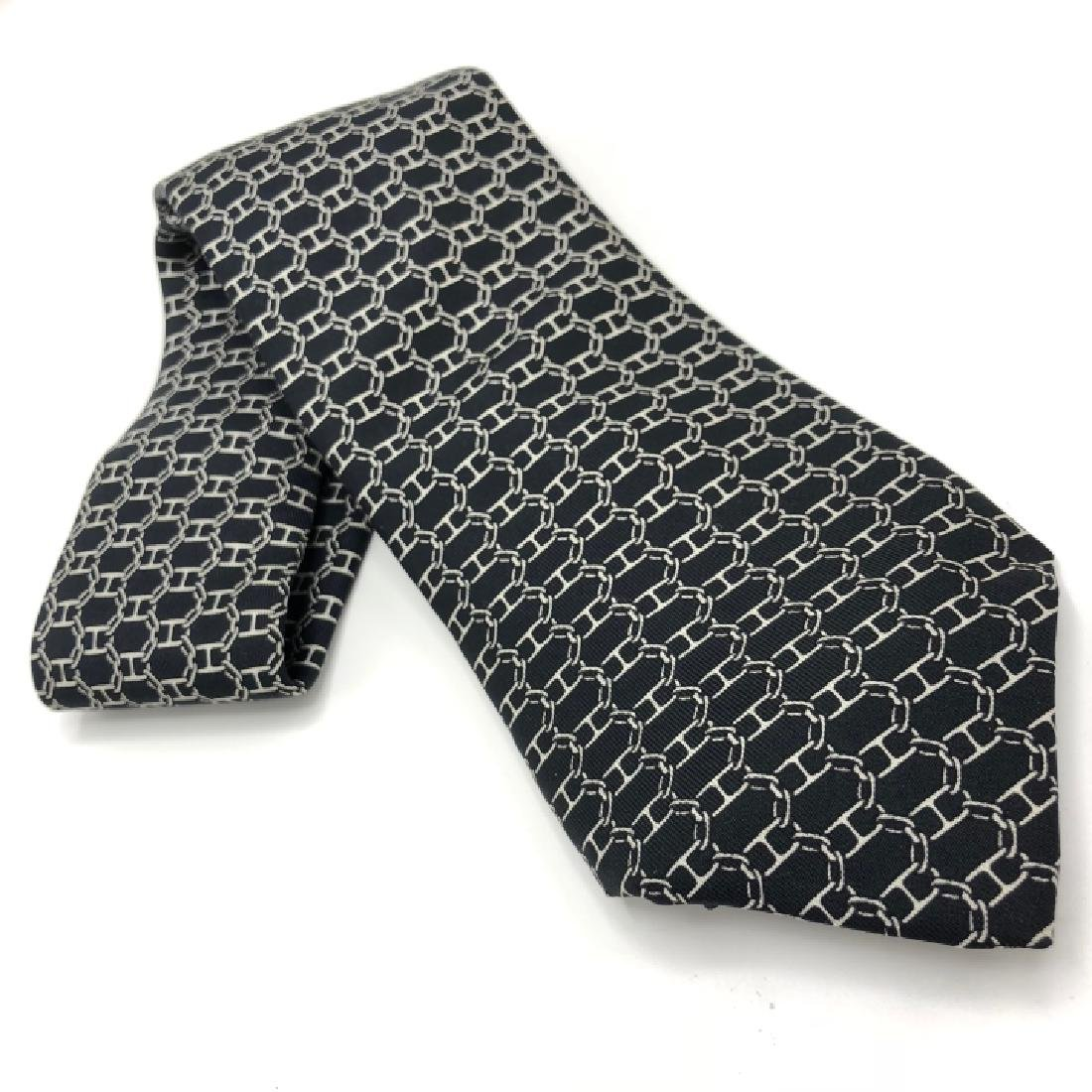 Vintage Authentic Hermes Black & White Men's Tie