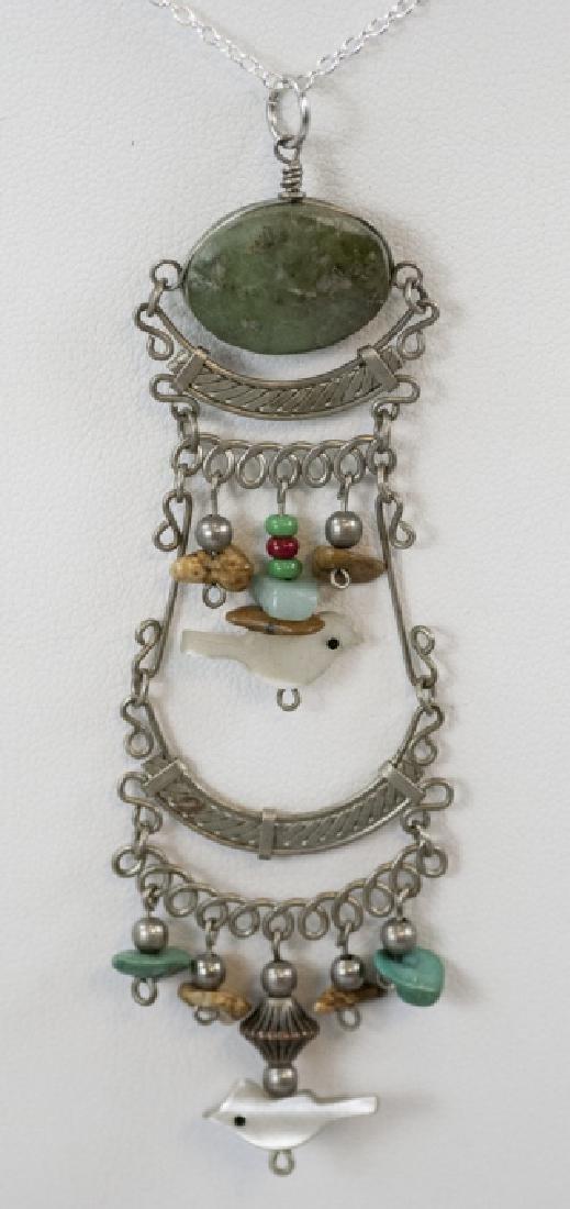 Vintage Filigree Silver Carved Fetish Necklace