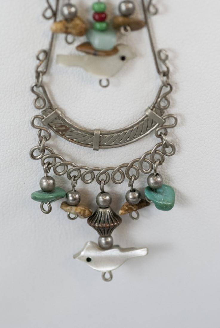 Vintage Filigree Silver Carved Fetish Necklace - 2