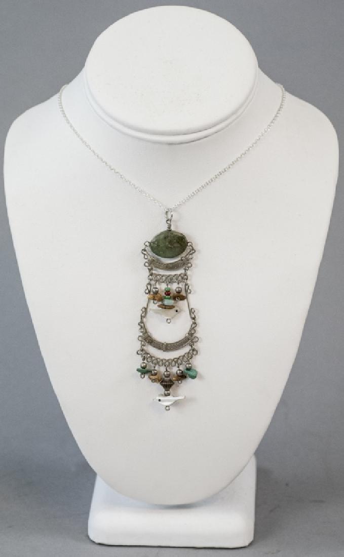 Vintage Filigree Silver Carved Fetish Necklace - 3