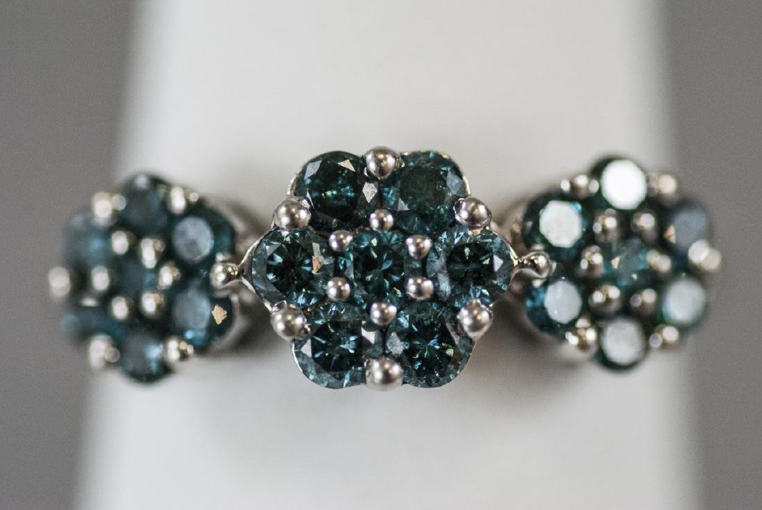 Estate White Gold & Blue Diamond Floral Motif Ring
