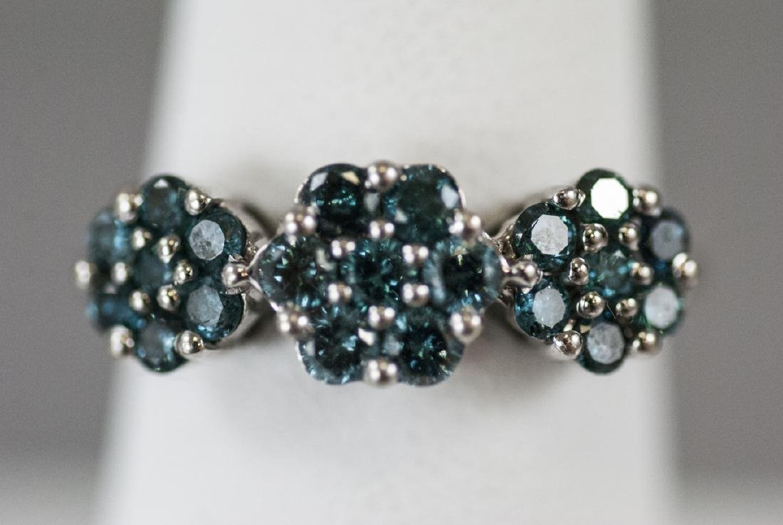 Estate White Gold & Blue Diamond Floral Motif Ring - 2