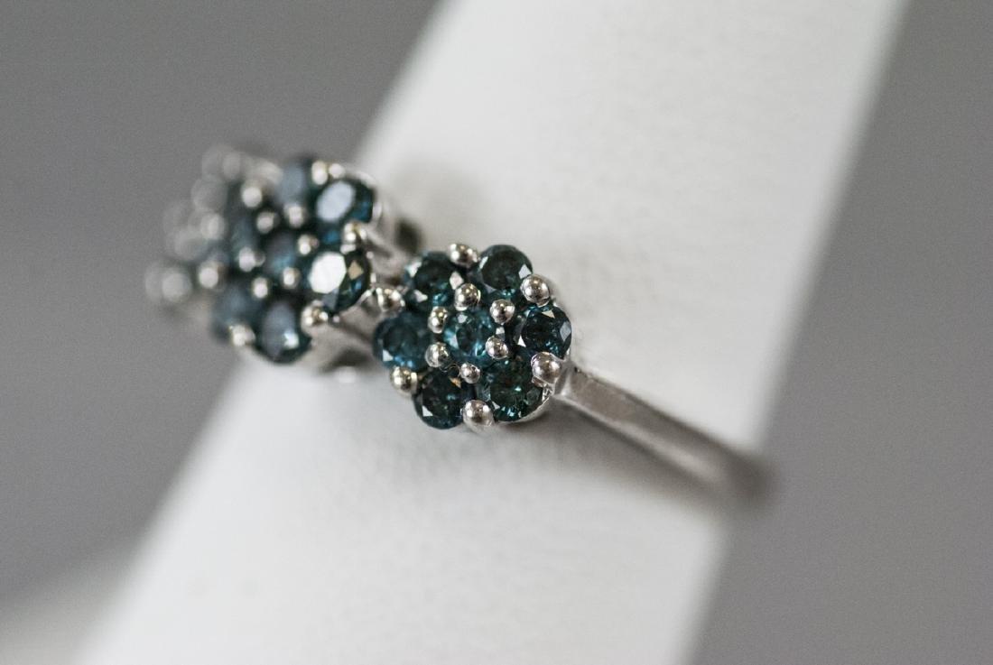 Estate White Gold & Blue Diamond Floral Motif Ring - 4