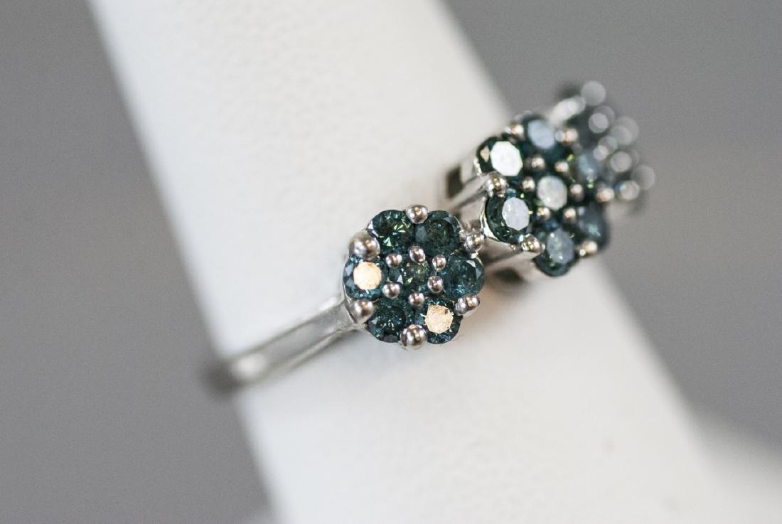 Estate White Gold & Blue Diamond Floral Motif Ring - 5