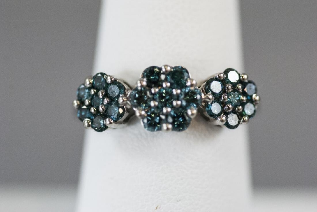 Estate White Gold & Blue Diamond Floral Motif Ring - 6