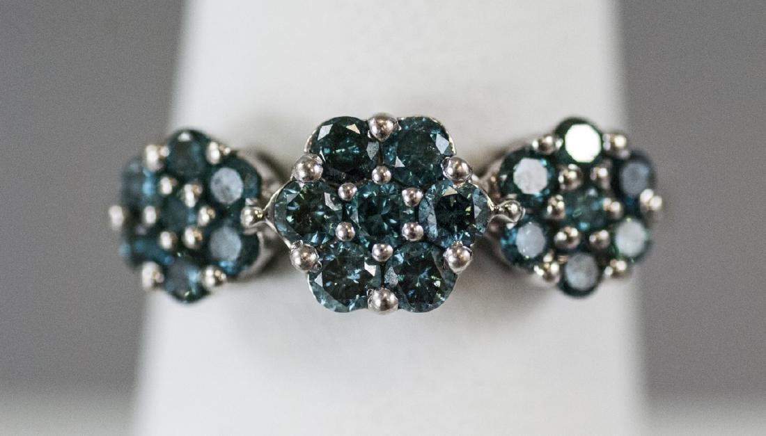 Estate White Gold & Blue Diamond Floral Motif Ring - 7