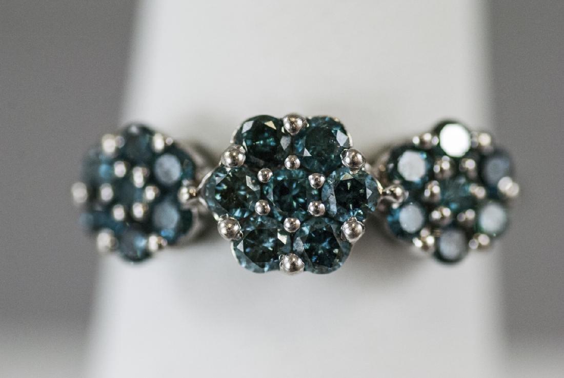 Estate White Gold & Blue Diamond Floral Motif Ring - 8