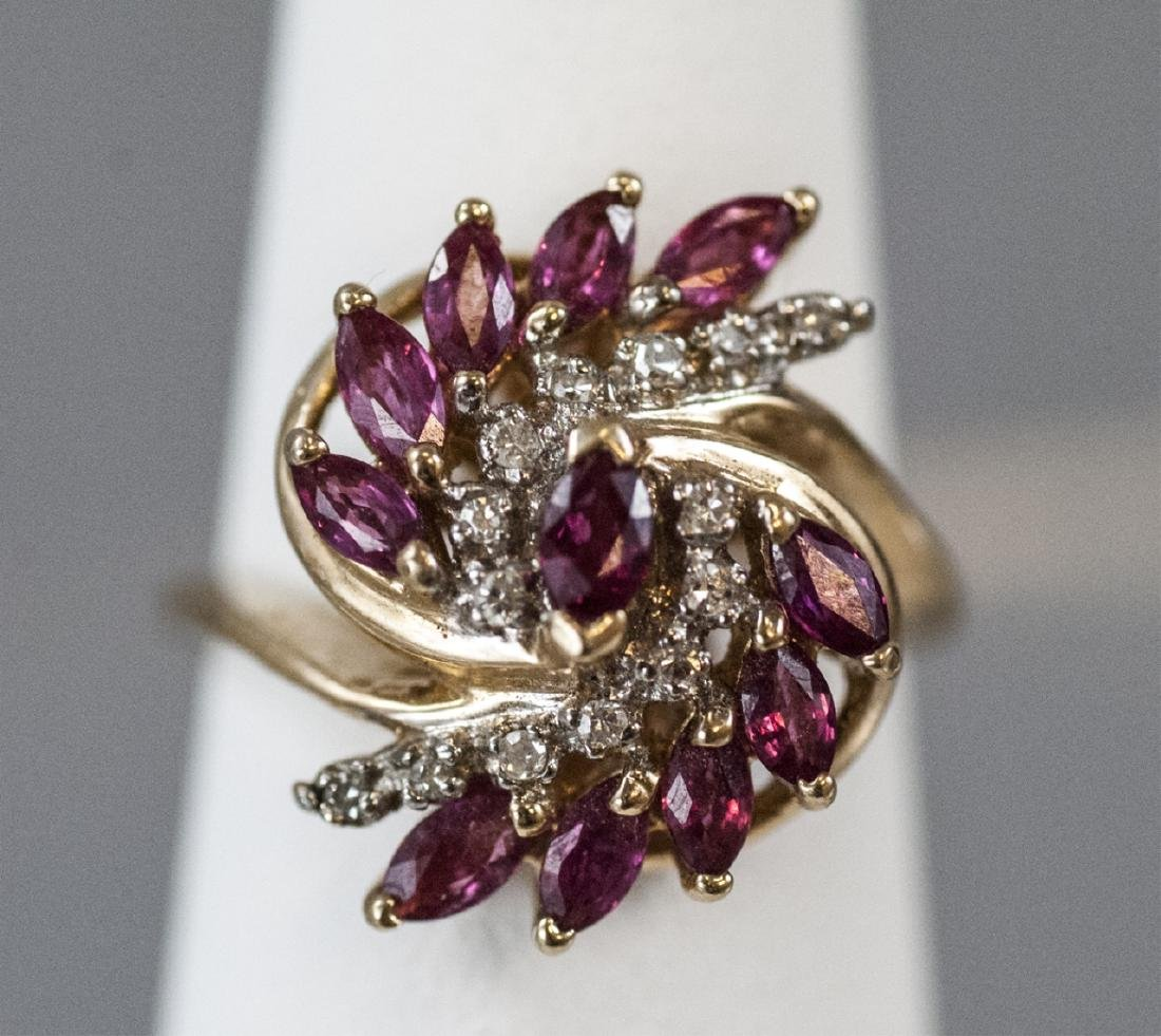 Estate Diamond & Ruby 14k Yellow Gold Cluster Ring