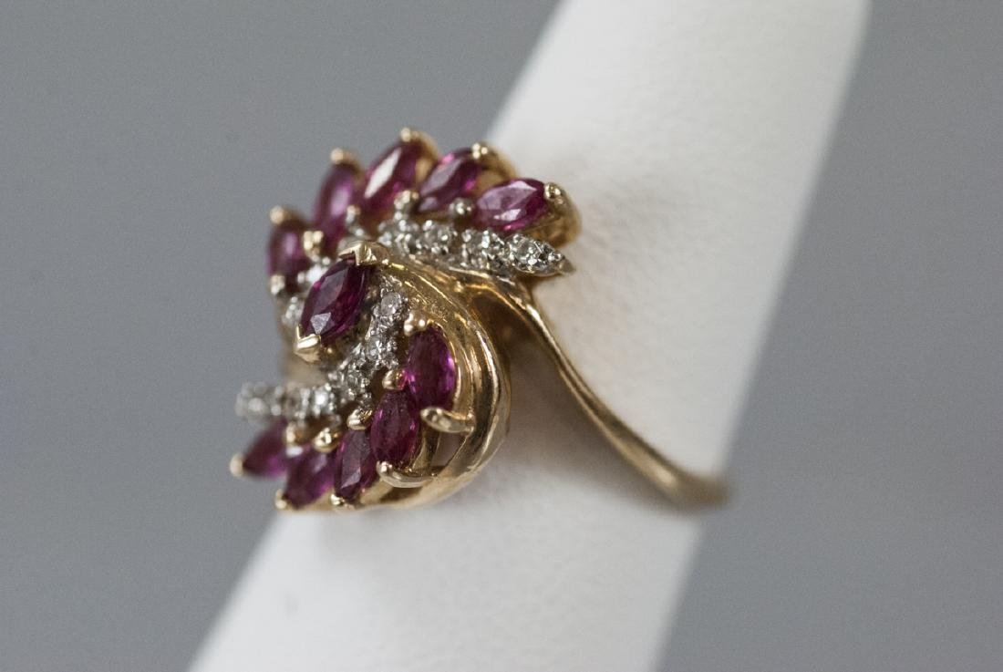 Estate Diamond & Ruby 14k Yellow Gold Cluster Ring - 2