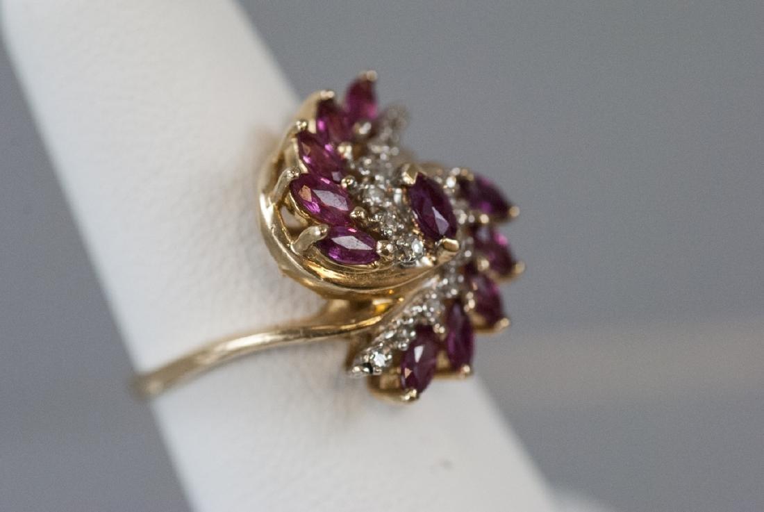 Estate Diamond & Ruby 14k Yellow Gold Cluster Ring - 3