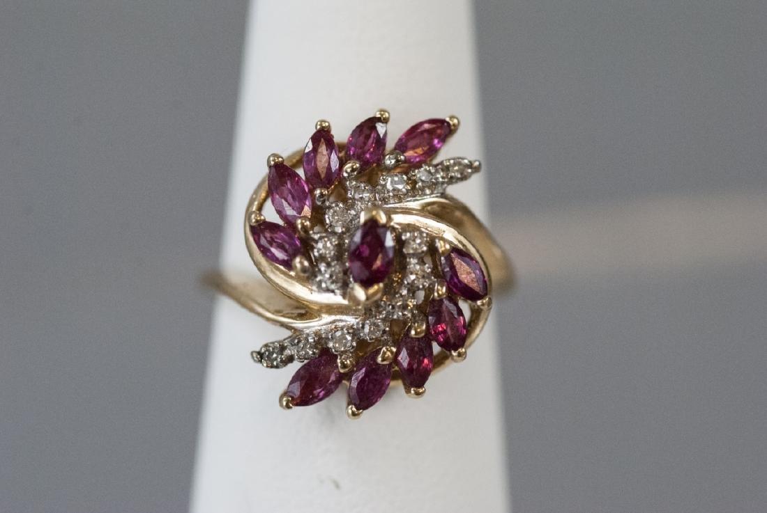 Estate Diamond & Ruby 14k Yellow Gold Cluster Ring - 4
