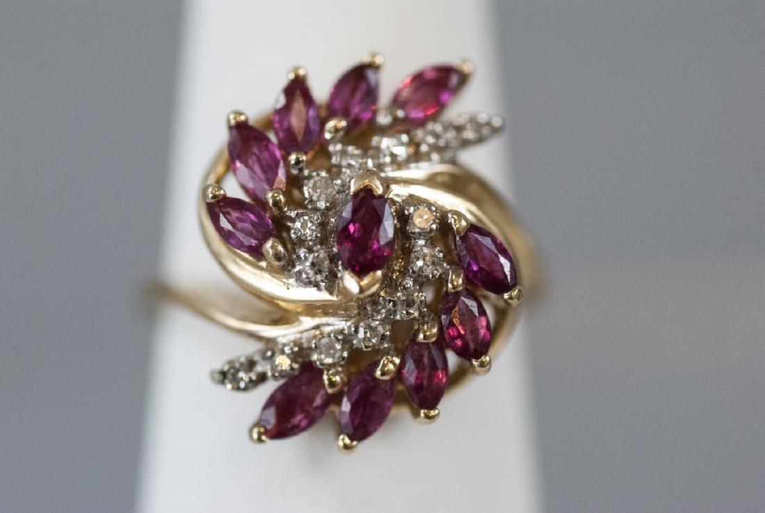 Estate Diamond & Ruby 14k Yellow Gold Cluster Ring - 5